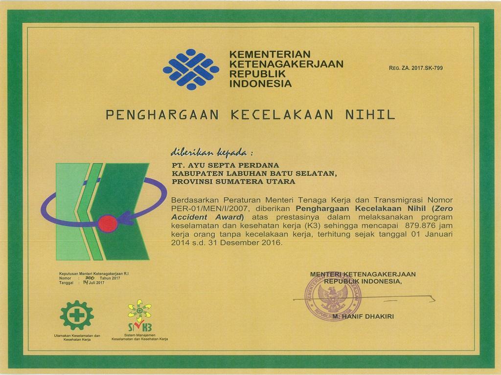 Penghargaan Kementerian Tenaga Kerja Republik Indonesia